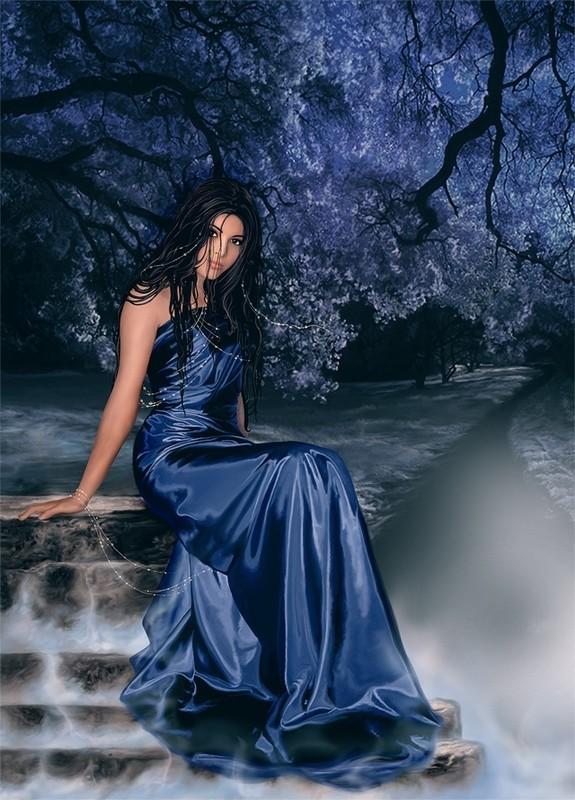 Belle-femme-robe-bleu-paysage-flora